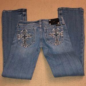 Miss Me light wash boot cut cross embellished jean